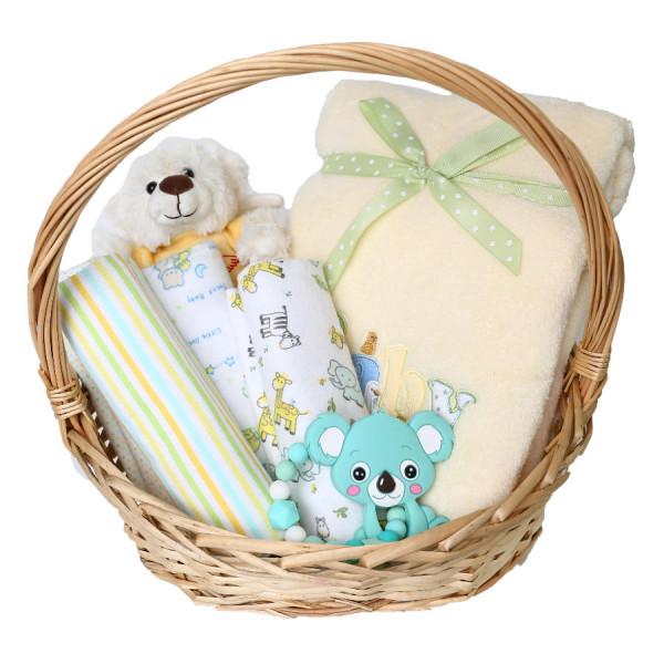 Geschenkkorb Baby Decke gelb grün Beißring silikon