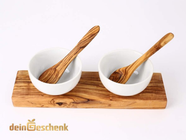 Dipschalen 8,5cm mit Olivenholz-Zubehör 5tlg