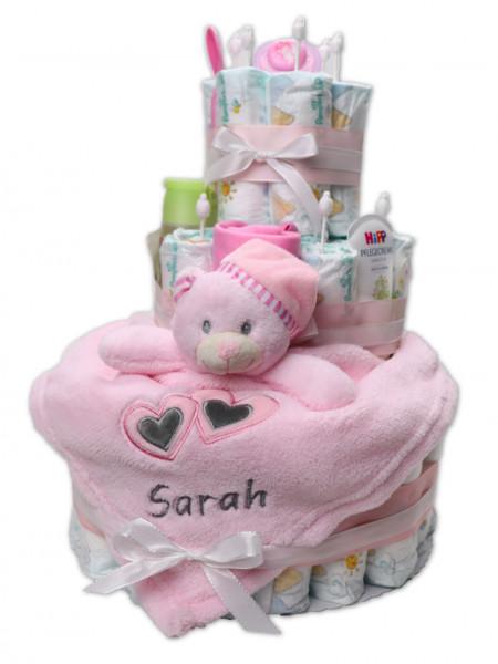 Premium XXL Windeltorte rosa mit Schmusetuch