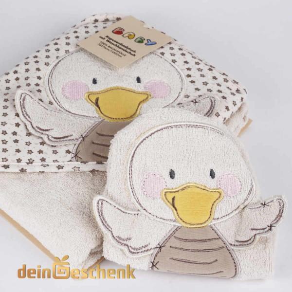 Baby Waschlappen und Kapuzenhandtuch Ente