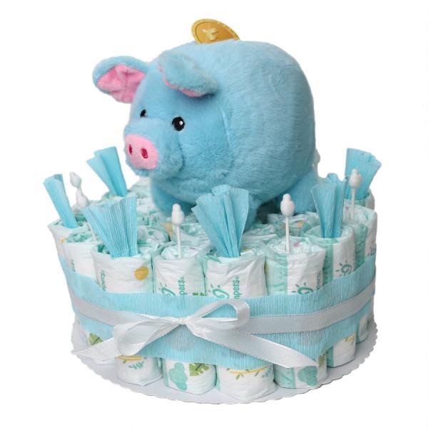 Windeltorte mit Sparschwein für Jungen in blau - Babygeschenk