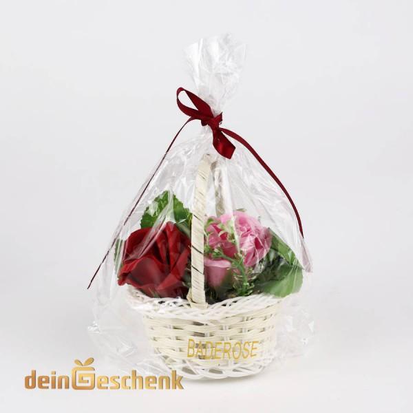 Geschenkkörbchen mit Baderosen (4 Farben)