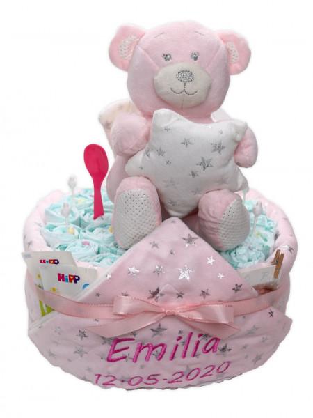Windeltorte mit rosa Babydecke und Namensstick