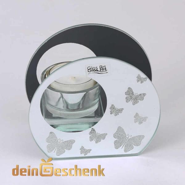 Teelichthalter aus Glas mit Spiegel