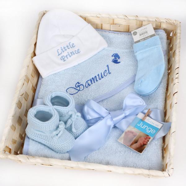 Geschenkkorb zur Geburt für Jungen in Blau personalisierbar
