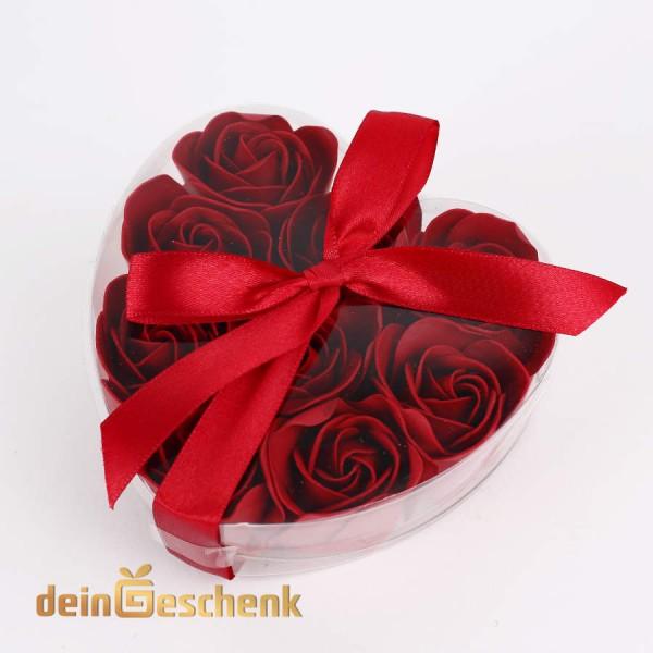Rote Baderose - Geschenkdose in Herzform