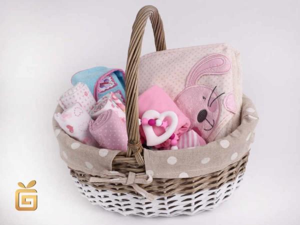 Geschenkkorb mit Tüchern Body Kapuzenhandtuch Waschlappen und Beißring