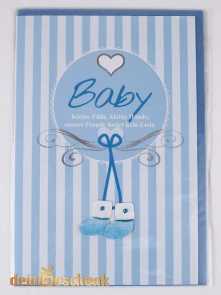 Grußkarte zur Geburt Junge blaue Schuhe