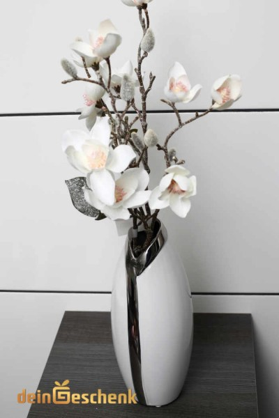 Vase 26x10,5cm mit silbernem Kragen und Blumen