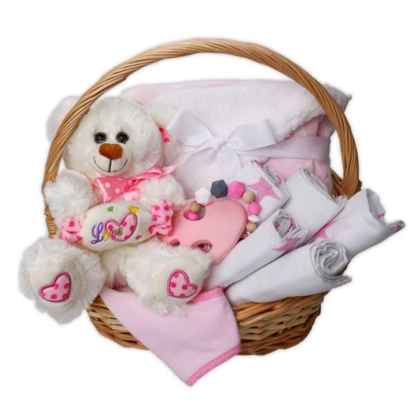 Baby Geschenkkorb Mädchen in rosa