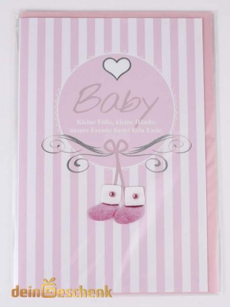 Grußkarte zur Geburt Mädchen rosa Schuhe