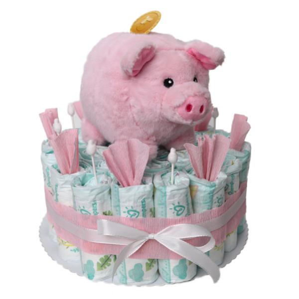 Windeltorte mit Sparschwein als Babygeschenk für Mädchen